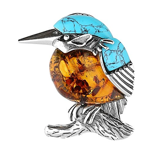 BALTIC AMBER & TURQUOISE STERLING SILVER925 BIRD KINGFISHER BROOCH . KAB-275 by KAB