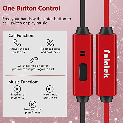 Noise Isolating and High Definition in Ear Canal, FALATEK Thalia Headphones Earbuds with Powerful Bass. Tangle Free for iPhone, iPod, iPad, MP3 Players, Samsung, LG with Mic Black Red