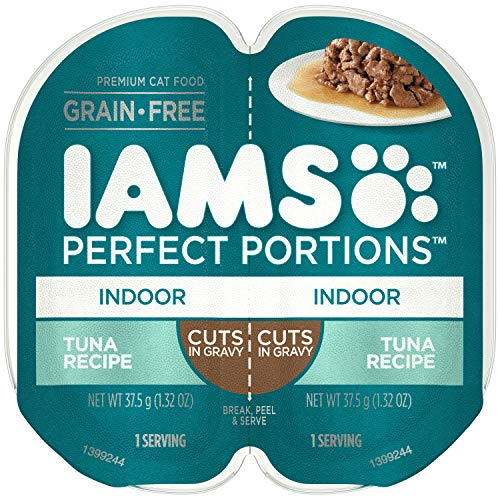 IAMS Perfect PORTIONS Adult Indoor Cat Grain Free Wet Cat Food Cuts in Gravy Tuna Recipe, (24) 2.6 oz. Easy Peel Twin-Pack Trays