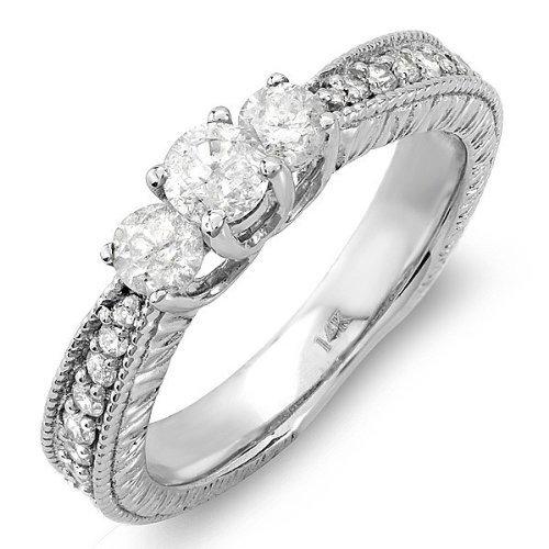 0,92 quilates de tres baratos con corte redondo anillo de bodas de diamante en