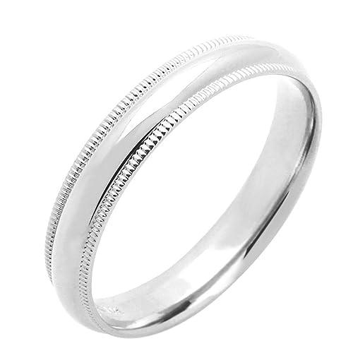 Pequeños Tesoros - Anillo de mujer - de oro blanco (14k) Anillo De Matrimonio 4MM Milgrain ajuste cómodo: Amazon.es: Joyería