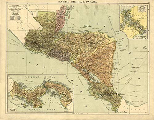 Art Oyster Vintage Map of Central America & Panama, 1920-42