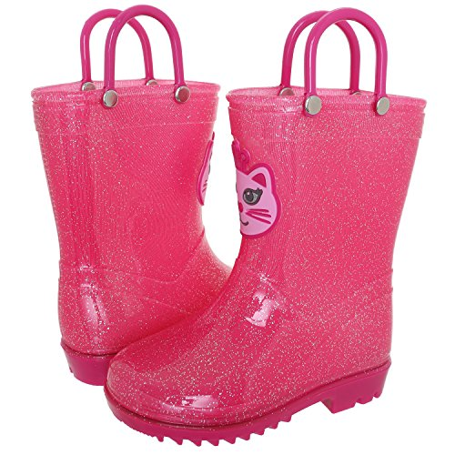 Toddler Pink Combo Footwear - Capelli New York Toddler Girls Kitty Applique Rain Boot Pink Combo 8/9