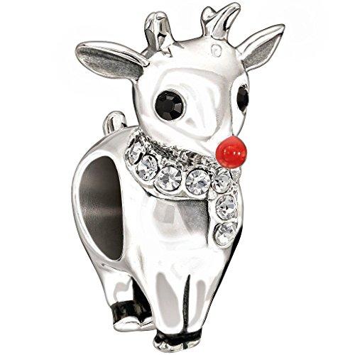 Chamilia Sterling Silver W Stone - Rudolf - Red Enamel, Black & Crystal Swarovski Charm, Multi, One Size ()