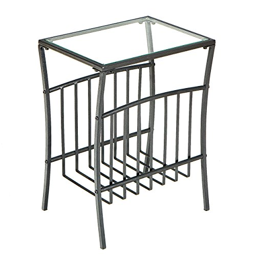 (Metal Magazine & Book Table - Underneath Storage - Textured Black Finish Frame)