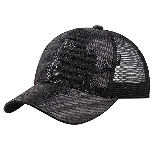 SPE969 Women Girl Baseball Cap Ponytail Sequins Shiny Messy Bun Snapback Hat Sun Caps -