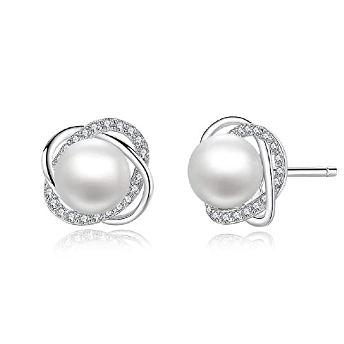 a7e99123b Amazon.com: Sterling Silver Freshwater Cultured Pearl and Cubic Zirconia  Spiral Stud Earrings: Jewelry