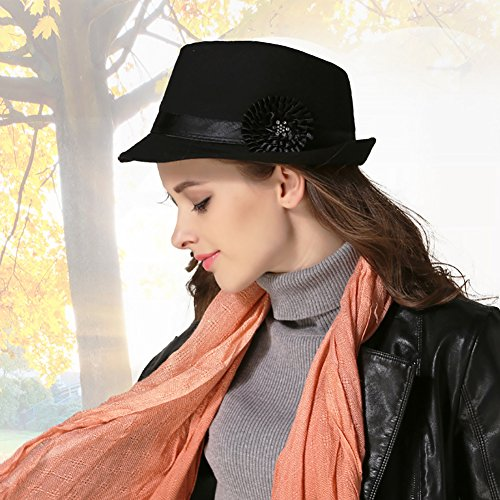 dfeecea822f Women Vintage Top Hat Party Cap Trilby Classic Flower Elegant Panama ...
