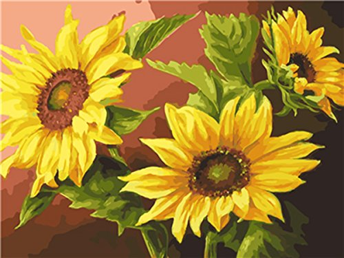 - Shukqueen DIY Paint by Numbers for Adults, DIY Oil Painting Kit for Kids Beginner - Warm Sunflower 16X20 Inch (Frameless)