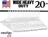 Best Wide Shoulder Heavy Duty Plastic Hangers, USA Made Strong and Long Lasting Hangers, Set of 20
