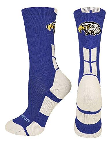 MadSportsStuff Eagles Logo Athletic Crew Socks (Royal/White, Large)