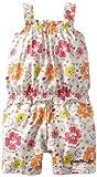 Calvin Klein Baby-girls Infant Flower Print Romper, Orange/Pink, 12 Months image