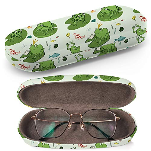 Hard Shell Glasses Protective Case with Cleaning Cloth for Eyeglasses and Sunglasses - Frog Animals Cartoon Hand ()