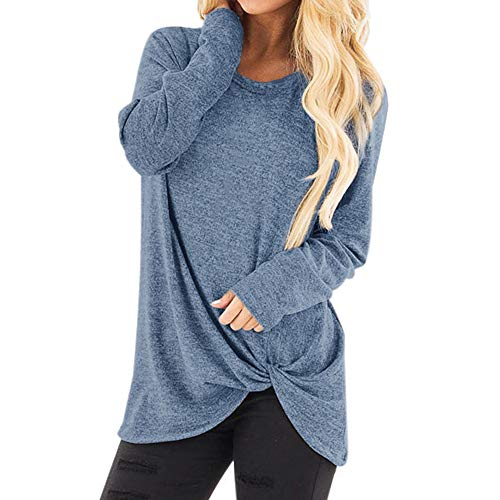 (Toimothcn Women Solid Long Sleeve T-Shirt Casual Loose Knot Blouse Tops Plus Size(Light Blue,S))