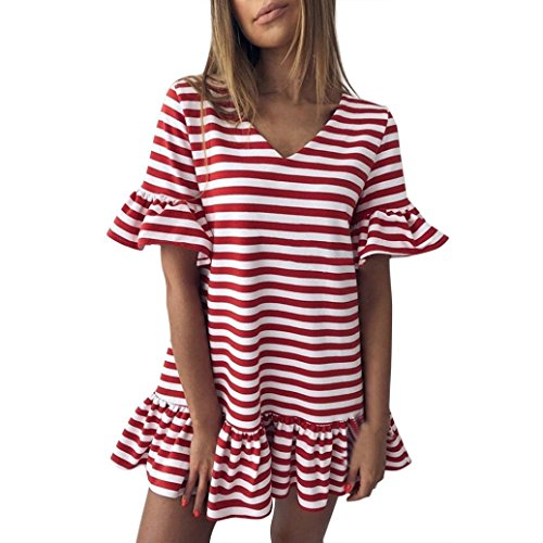 Wedding Discount Veils (HITRAS Dress Clearance! Fashion Womens Butterfly Sleeve Stripe Print Ruffles Mini Dress (S, Red))