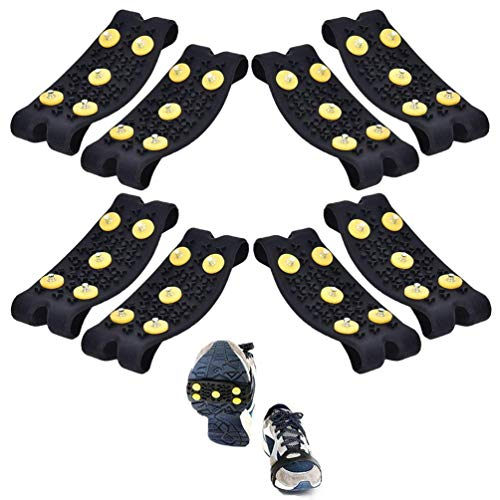 BraveWind 5 Pairs Ice Snow Grips Slip-on Shoe Grippers Anti Slip Snow Ice Traction Climbing Spikes Grips Shoes Cover for Men Women Children