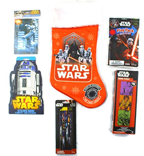 Star Wars Red Stocking Stuffer Bundle of 7 Items: Stocking, Puzzle, Stickers, Journal,Play Pack,Pencils and Candy Cane