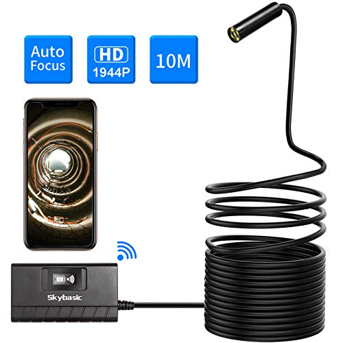 Wireless Endoscope, SKYBASIC Auto Focus 5.0 Megapixels 1944P FHD WiFi Borescope, Semi-Rigid IP68 Waterproof Inspection Camera, Snake Camera for Android and iOS Smartphone,Tablet(33FT) ()