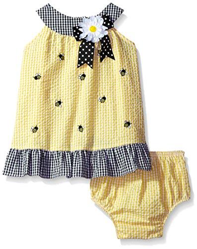 Yellow Seersucker (Rare Editions Baby Girls' Seersucker Dress, Yellow/Navy, 24M)