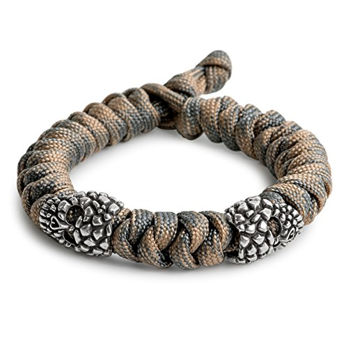 (Kayder Antique Silver Dry Cracked Skull Metal Beads Snake Knot Paracord Bracelet, Unisex, Camo(Tan/Grey))