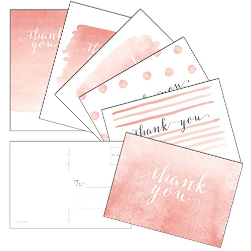 60 Postcards - Whimsical Watercolor Thank You - 6 Different Images