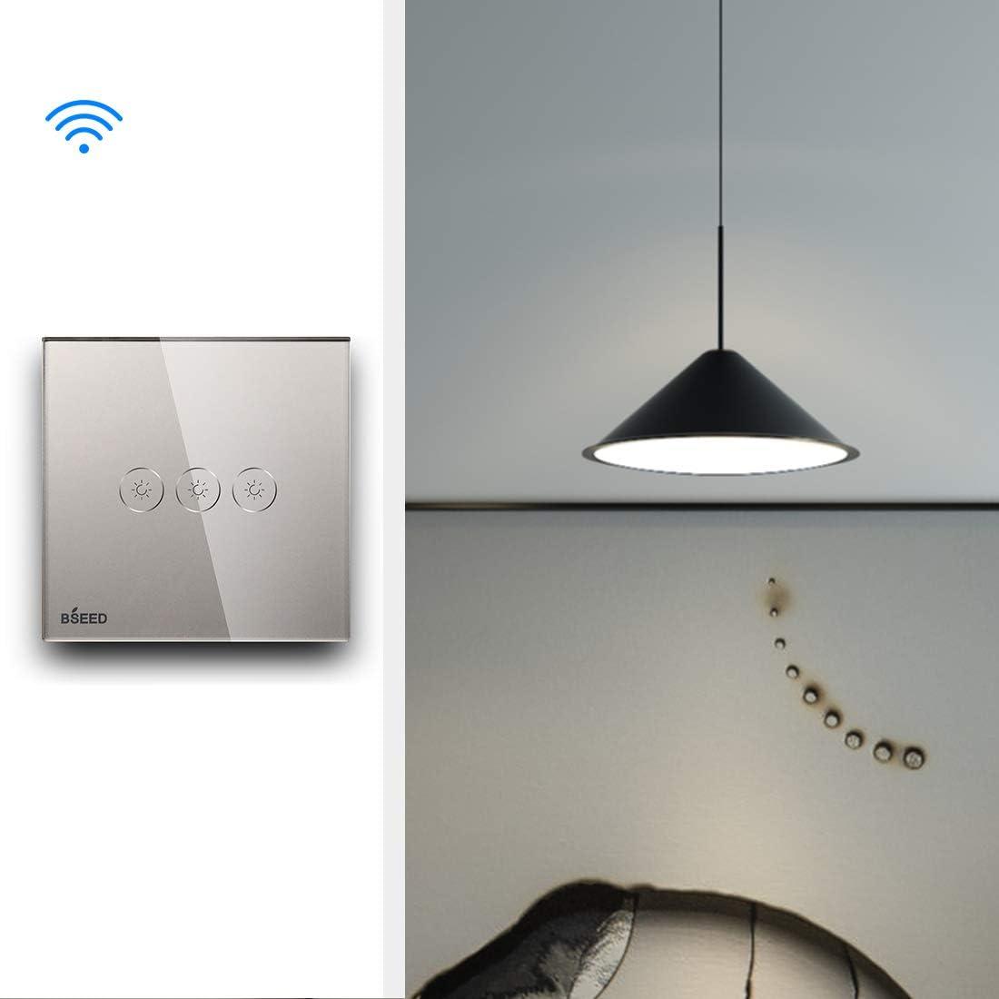 BSEED interrupteur tactile,Wifi curtain switch Noir Compatible avec Tuya,Alexa et Google Home Interrupteur WiFi Tactile Timer et Partager (besoin de se connecter /à une ligne neutre)