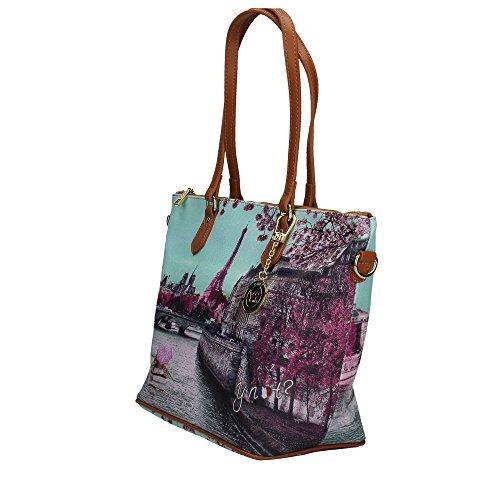 Y NOT? donna borsa shopping con tracolla H-396 PAS Azur-Lilla