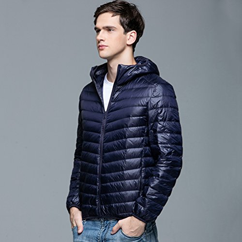 Navy Warm Autumn Winter ZKOO Outwear Jacket Padded Jacket Men and Coat Lightweight Down Hood Puffer Down Zipper w7A4qxwa