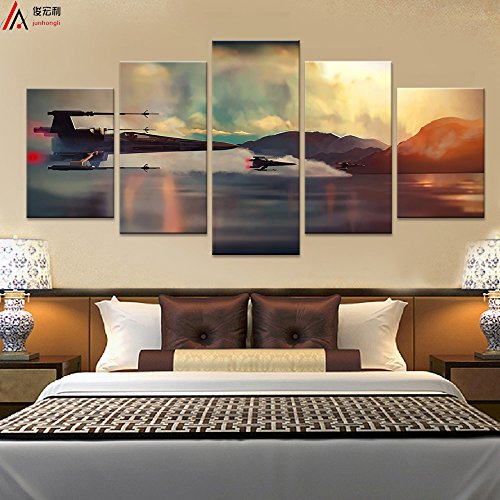 (Modern Art Printed in Star Wars Movie Poster 5 panel canvas art wall frame paintings living room30x40x2+30x60x2+30x80x1= (CM)^^^With Framework)