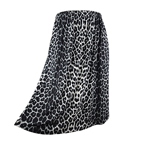 - Yitonglian Women Plus Size Skirt Loose Summer Autumn Leopard Print Casual Midi Long Skirts-WHT-20W