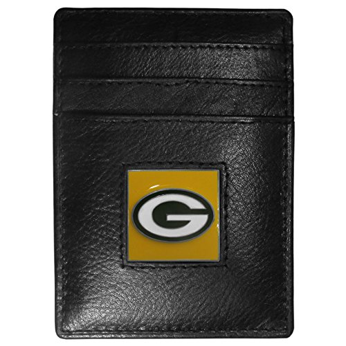 Mlb Nfl Money Clip (Green Bay Packers Leather Money Clip/Cardholder Packaged in Gift Box)