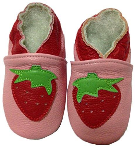 JT-Amigo Zapatillas de Cuero para Bebé, Escarabajo, 0-6 Meses Fresa