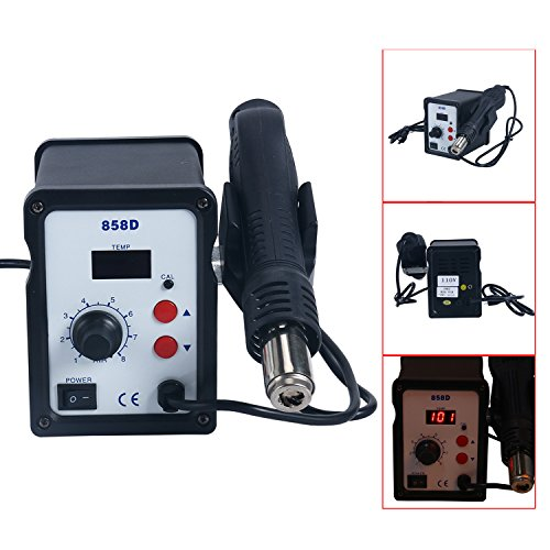 YaeCCC 858D SMD Rework Station Hot Air Gun Digital Solder Soldering Stations Iron Holder W/3 Nozzles + Accessories 700W