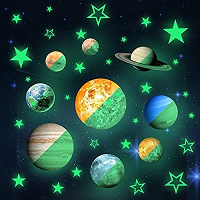 36pcs Removable Glow in the dark Planet Wall Stickers 9pcs with 27pcs stars Stickers ?Solar System Glowing Planets Wall Decals Peel Stick art Decor for Walls Ceiling Kids Bedroom Living Room