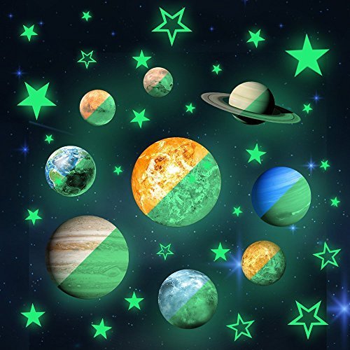 (36pcs Removable Glow in the dark Planet Wall Stickers 9pcs with 27pcs stars Stickers ,Solar System Glowing Planets Wall Decals Peel Stick art Decor for Walls Ceiling Kids Bedroom Living Room)
