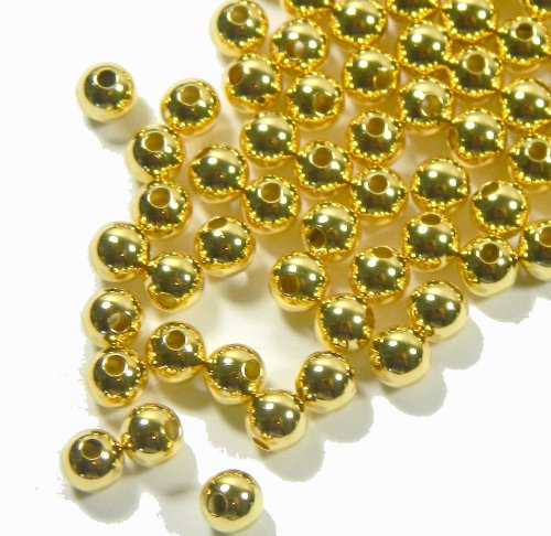 Plated Gold Beads Round Spacer - Beads Direct USA's Gold Plated Brass Beads 5mm Round Spacer Beads (200 pcs per pack)