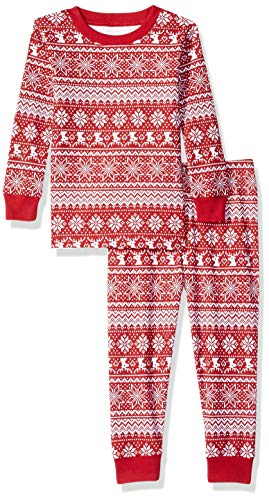 Amazon Essentials Baby 2-Piece Pajama Set, Red Snowflake, 18-24M