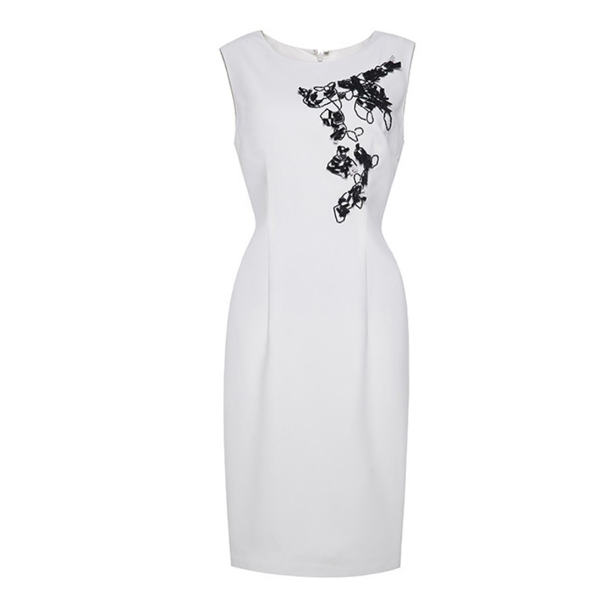 China Palaeowind Female Spring And Summer Temperament Beaded Dress Waist Skirt White Dress,White-S