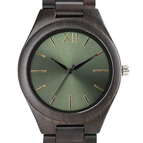 ZJQQS Träklocka handgjord träkedja bandsklocka för män kvinnor svart grön ansikte klänning kvarts armbandsur klocka