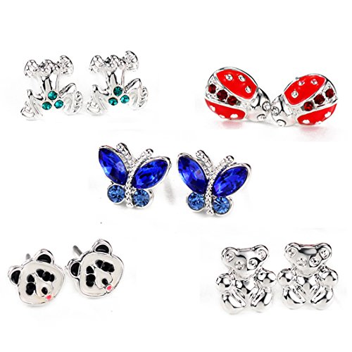 Neolgory Jewelry Silver Color Critter Animal Multiple Earrings Sets Chirstmas Gift for Sensitive Ears