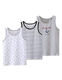 U0U Boys Assorted Tank Tops Cotton Camisoles Soft Undershirts for Boys 3 Pack