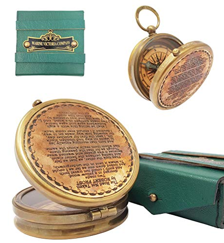 """Brass Nautical - """"The Road Not Taken Magnetic Compass Marine Antique Replica Vintage Gift Compass"""