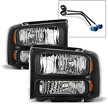For 99-04 Ford F-250//F-350 SD//Excursion LED Black Headlights W//Amber Reflector
