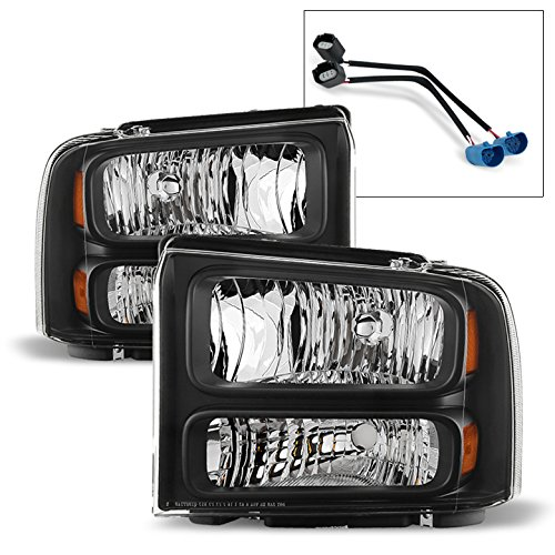 (ACANII - For 1999-2004 Ford F-250 F-350 Super Duty Excursion Conversion Harley Headlights Set Driver + Passenger Side)