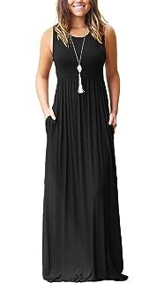 a1705cf98732 MOLERANI Women's Sleeveless Loose Plain Maxi Dresses Casual Long Dresses  with Pockets