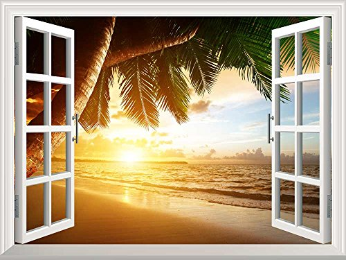Removable Wall Sticker Wall Mural Sunrise on Caribbean Beach Creative Window View Wall Decor