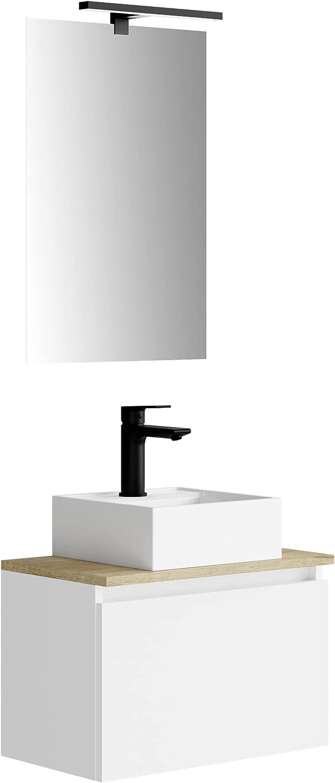 Baikal MAIA 280034329, Mueble de baño pequeño con Lavabo cerámico y Espejo con Aplique de luz LED, de una Puerta Abatible, Acabado en Color Blanco, de fácil montado, Medidas: 50 x 34 x 30 cm