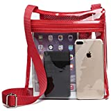 Clear Bag, F-color Clear Stadium Bag Approved for Concert, NFL, BTS Clear Purse for Women, Red