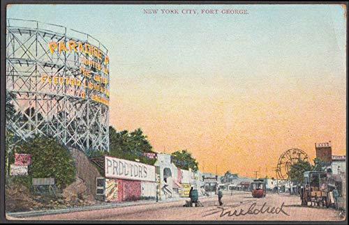 Paradise Park rollercoaster Fort George amusement park NY postcard 1907