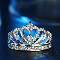 khamchanot Princess Crown Ring Tiara Heart Silver Cubic Zirconia Cz Size 5-10 Cupronickel (7)